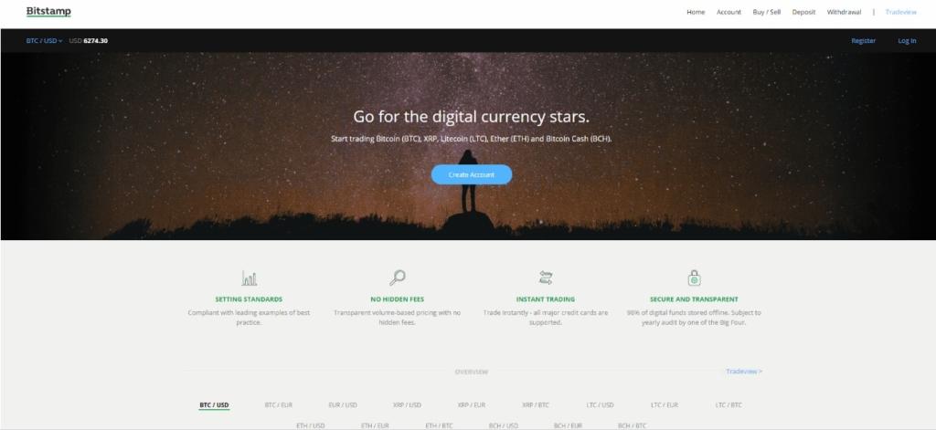 Так выглядит главная страница криптовалютной биржи Bitstamp.