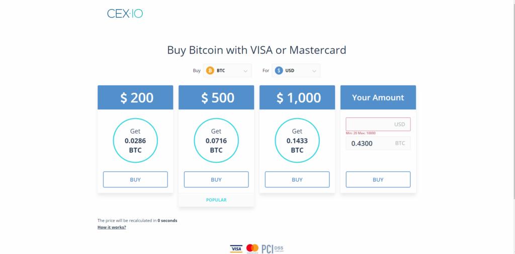 Криптовалютная биржа Cex.io позволяет пользователям покупать готовые пакеты монет