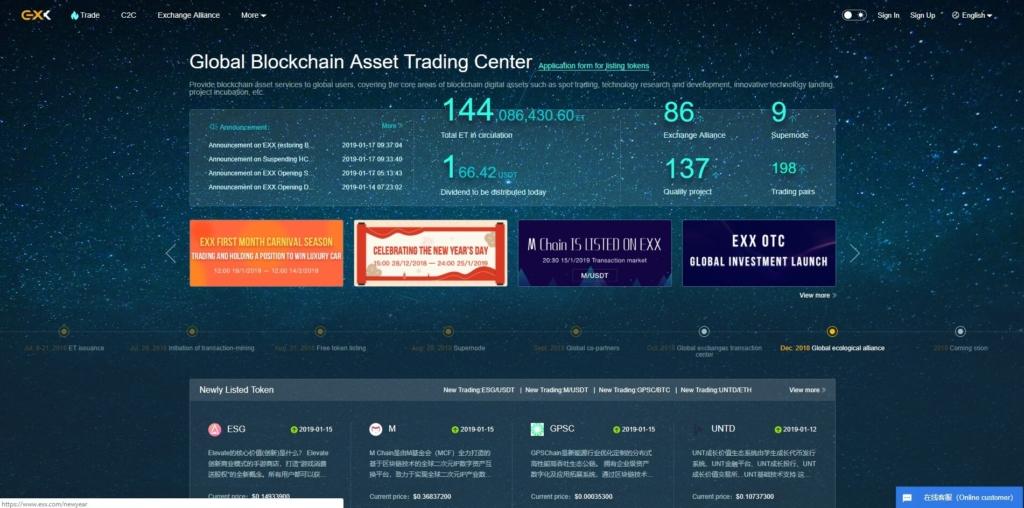 На главной странице много полезной информации о бирже EXX и криптовалютах в целом