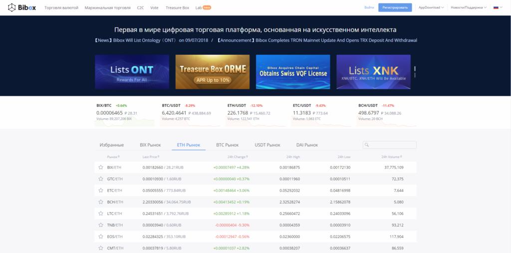 Bibox - популярная биржа криптовалют с удобным интерфейсом