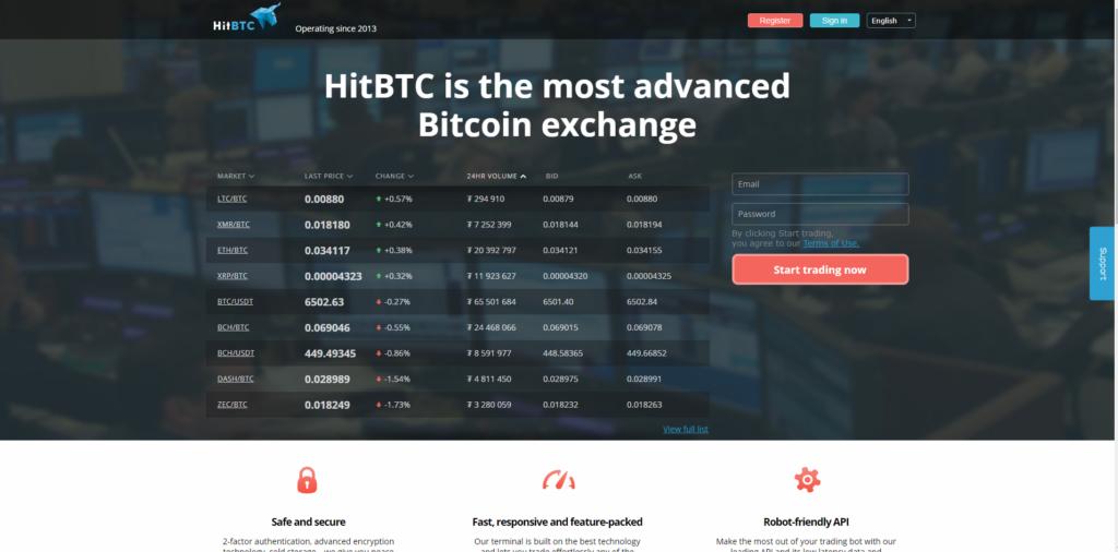 На торговой площадке HitBTC вы найдете подробную информацию о курсах и другие сведения