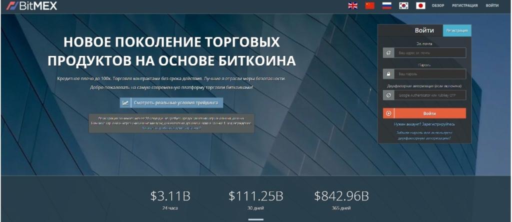 Биржа криптовалют BitMEX удобна для русскоязычных пользователей, так как есть локализация.