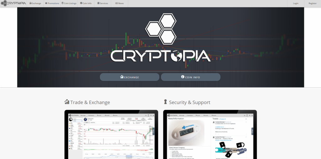 На главной странице биржи криптовалют Cryptopia нет ничего лишнего