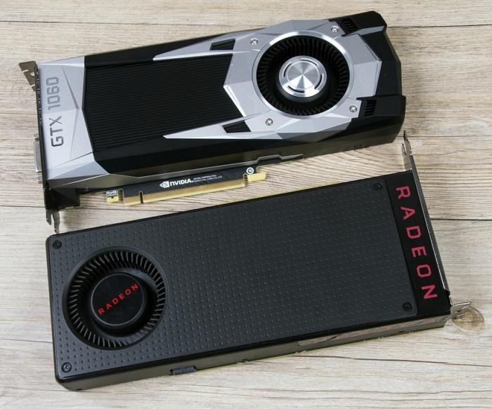 Популярные модели видеокарт AMD Radeon RX 480 и NVIDIA GeForce GTX 1060